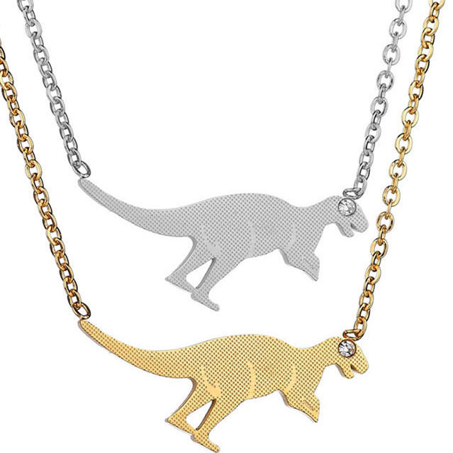 Top Quality Fashion Stainless Steel Dinosaur Kangaroo Figure Image Pendant Necklace American Women Favorite Golden Necklace