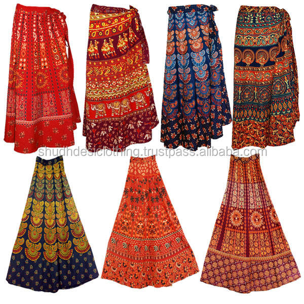 Jaipur Bagru Print Long Gypsy Women Sarong cotton wrap skirt India-wholesale Indian camel print skirt