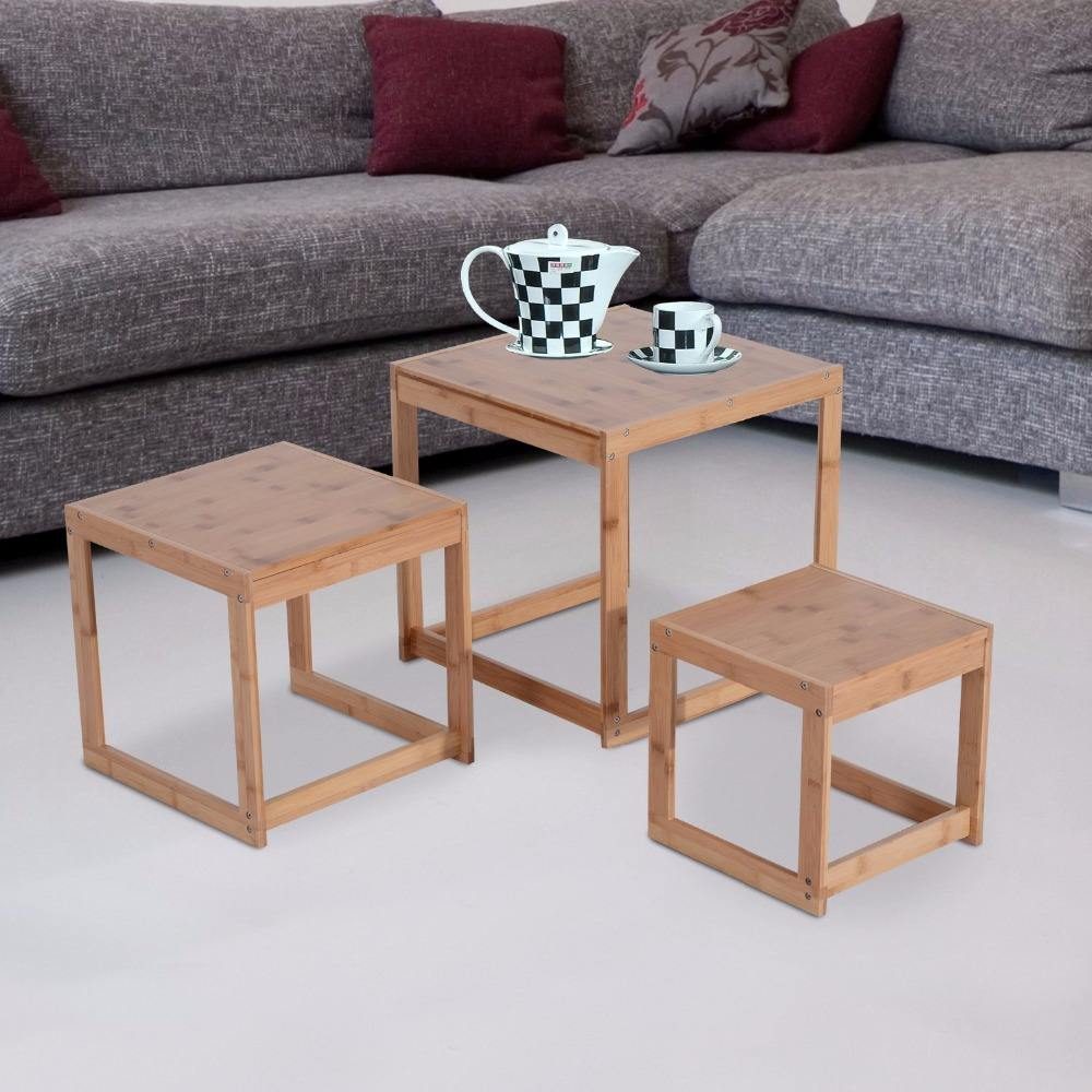 3pcs Nesting bamboo Living Room furniture Set Coffee Table home Side Table Set