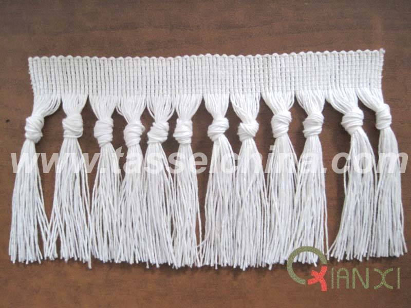 Cotton Fringe With Tassels Knotted For Carpet