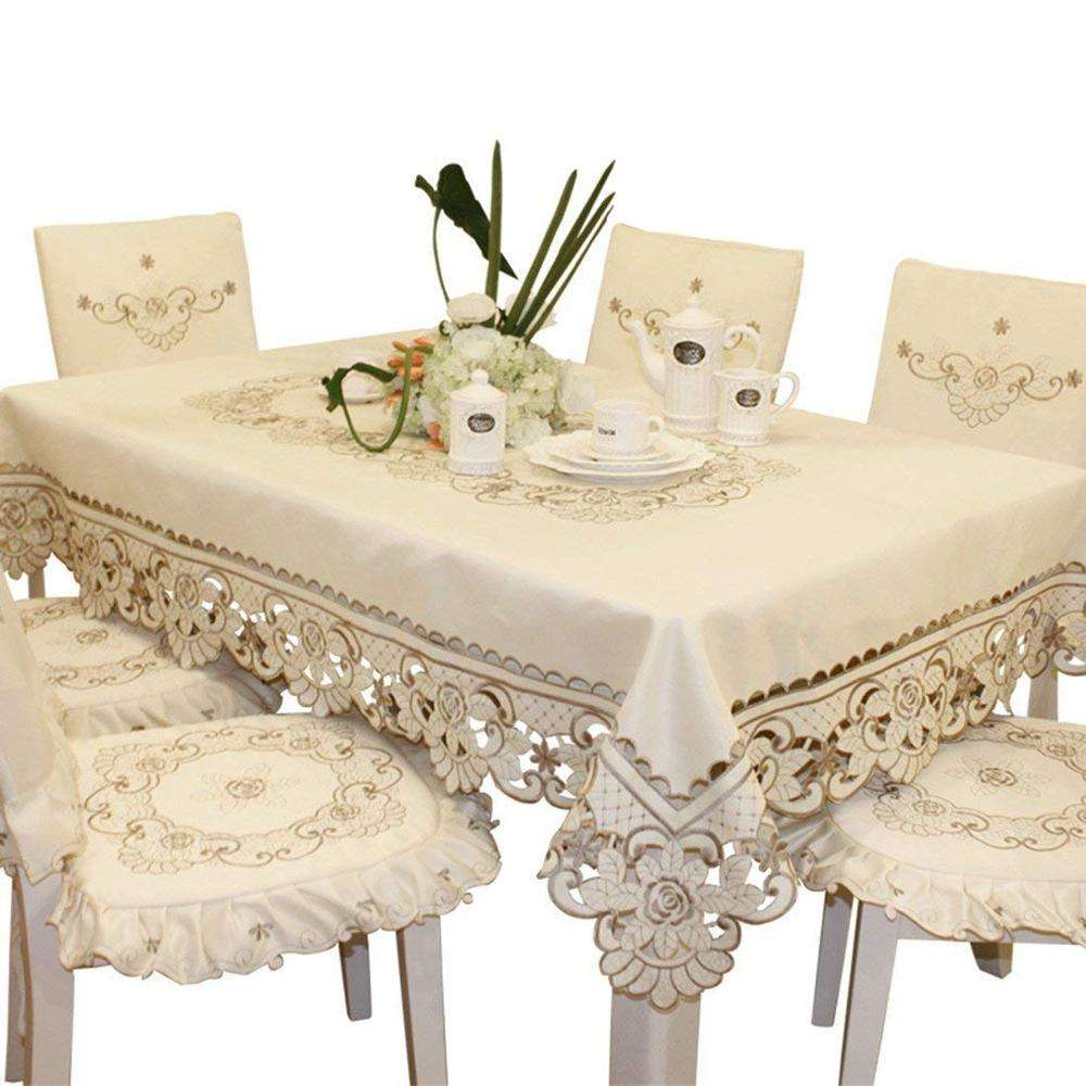 Cream Embroidery lace Small Coffee Rectangular Tablecloth Wedding Tablecloth