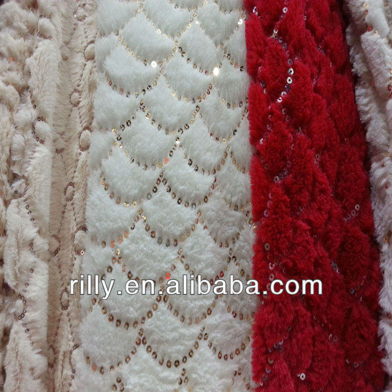 100% polyester sequins embroidery pv plush fabric