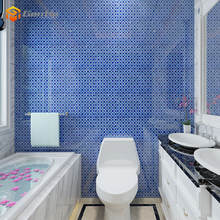 bathroom / swimming pool interior wall decor 4mm glossy mix blue irregular square wave shape crystal glass mosaic