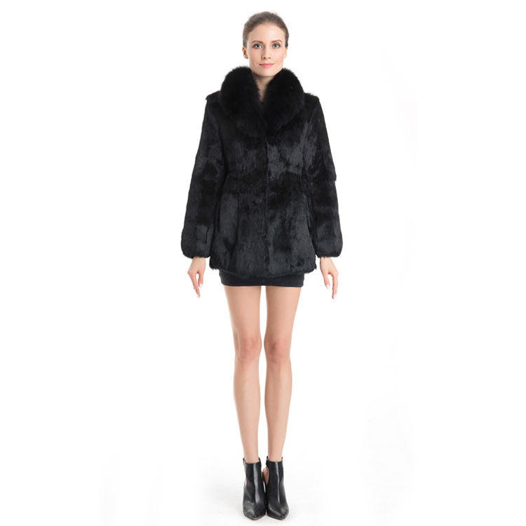 Wholesale Rabbit fur Coat with fox collar High quality in the long lady's rabbit fur