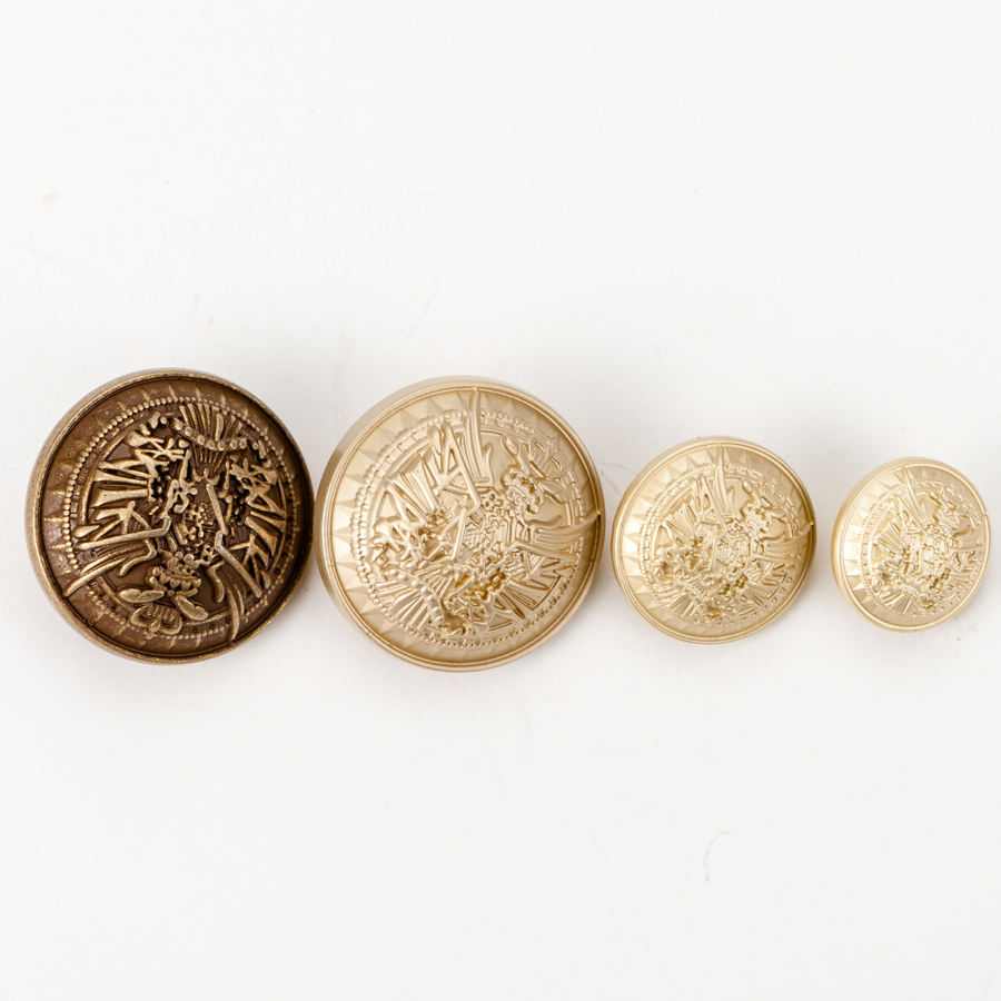 Custom Logo Gold Embossed Dome Metal Sewing Shank Buttons for Clothes