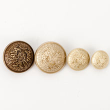 Custom logo embossed anti gold dome metal sewing shank buttons