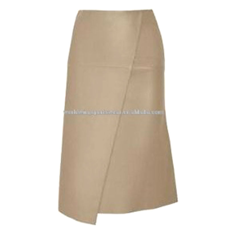 Ladies plain leather long irregular fashion skirt
