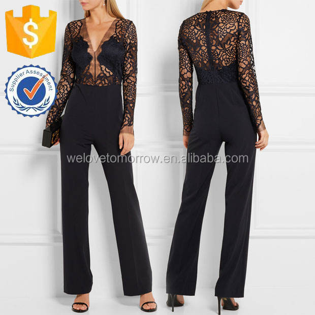 Ladies Midnight-blue Lace and Stretch-crepe Jumpsuits Manufacture Wholesale Fashion Women Apparel(TS0053J)