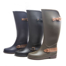 new slim fashion horse riding boot style women wellington rain boot
