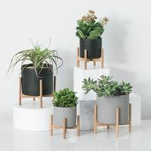 Cement Succulent Planter pot, Modern Concrete decor, Minimalist Indoor Flower Pot with wood rack