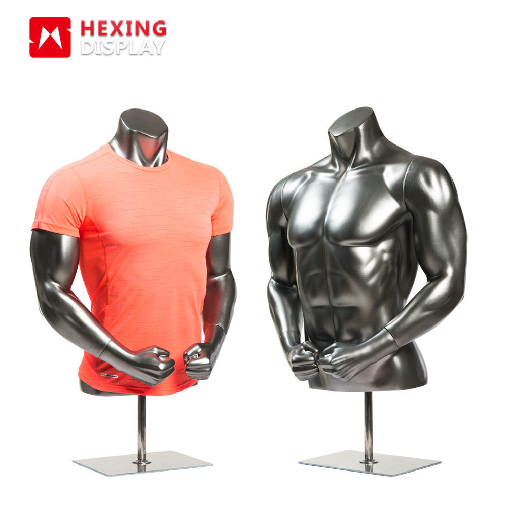 Fiberglass Big Muscle Sports Mannequin Half Body Male Mannequin