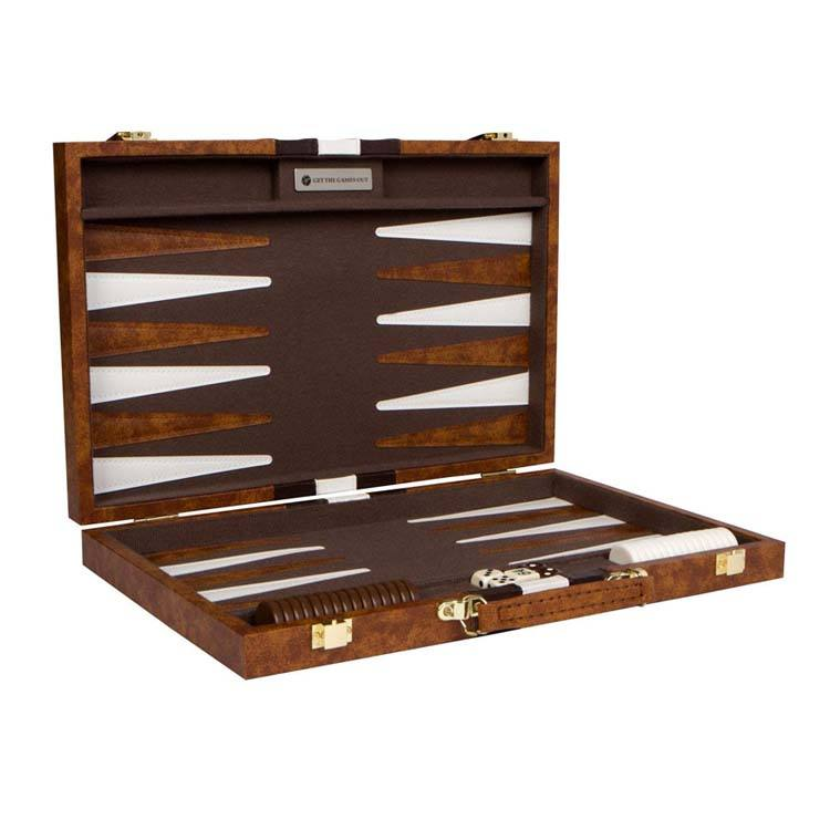 Nach orientalischen stil Leder Backgammon chips set Reise backgammon Brettspiel