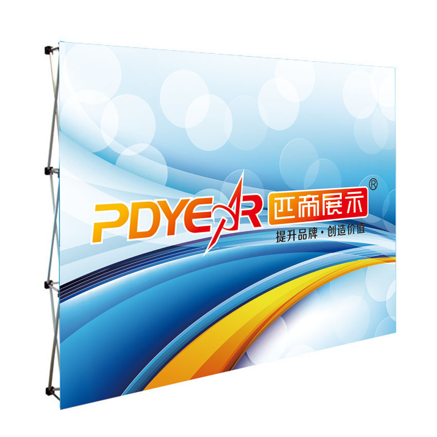 Pdyear portable trade show exhibition aluminum backdrop banner stand advertising custom media wall promotion pop up display