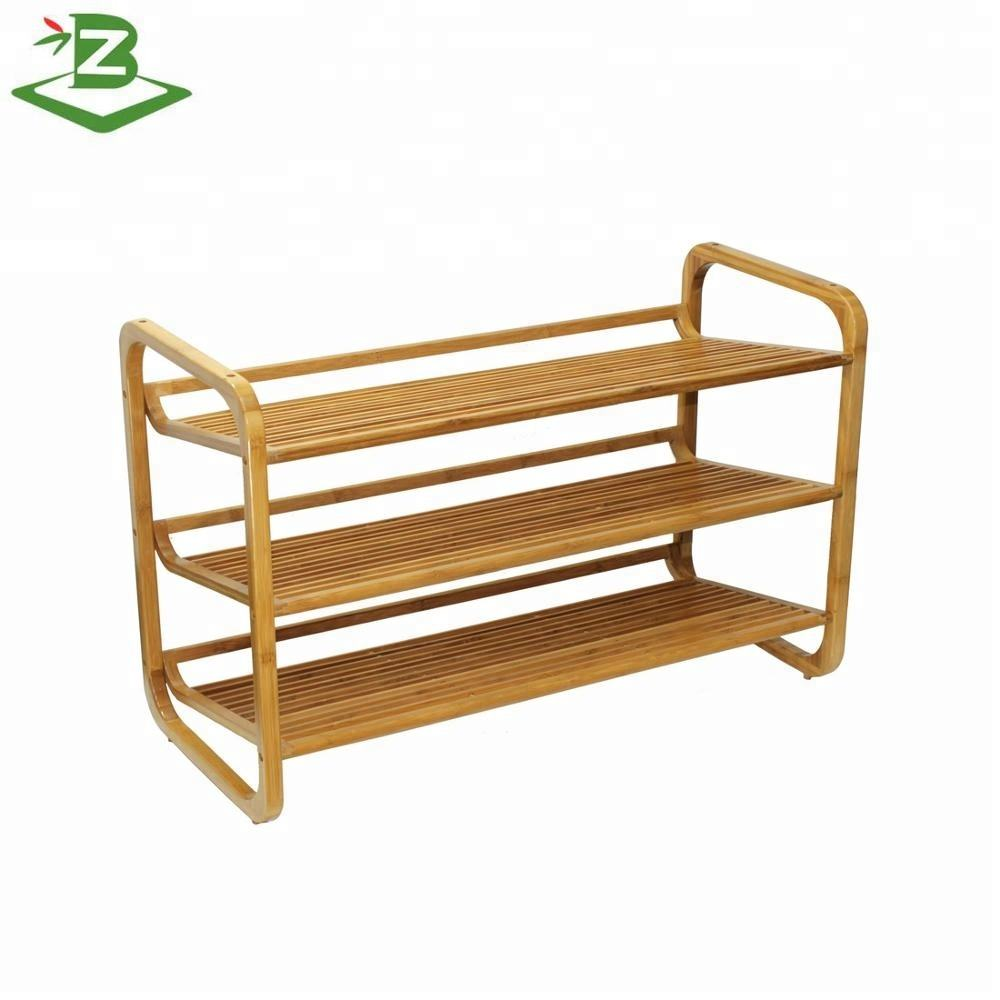 Wholesale 3-layer Stackable Bamboo Shoe Rack Storage Rack For Home_BSCI & FSC Factory
