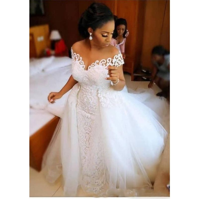 African Nigerian Mermaid Wedding Dress With Detachable Train Lace Up Design Short Sleeve Bridal Gowns Dresses