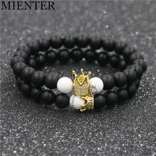 Newest Healing Balance Chakra Men Buddha Beads Natural Stone Crown Bracelet Women Jewelry