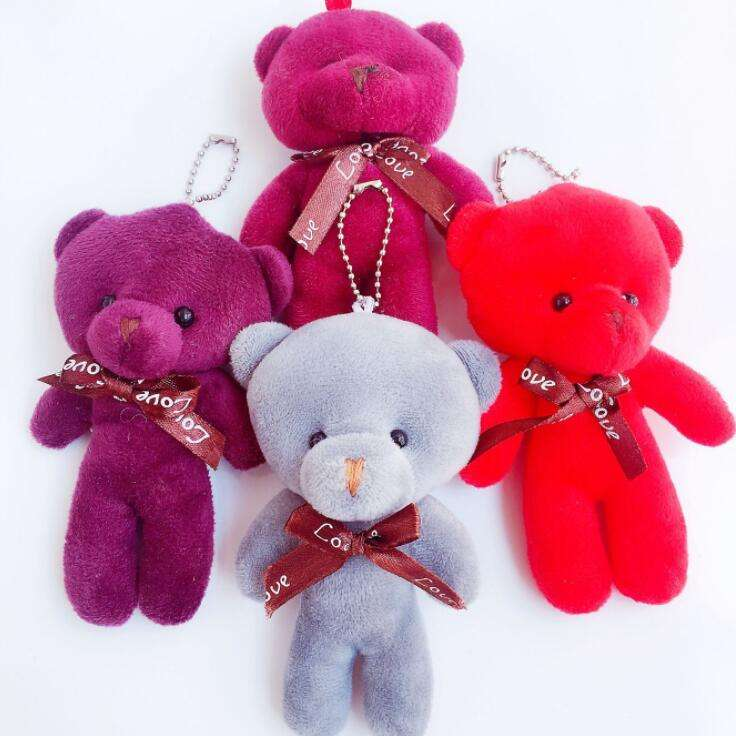 Factory Price Cheap Custom Design Flat Bear Toy 13cm Customized Color Plush Bears Keychain Toys