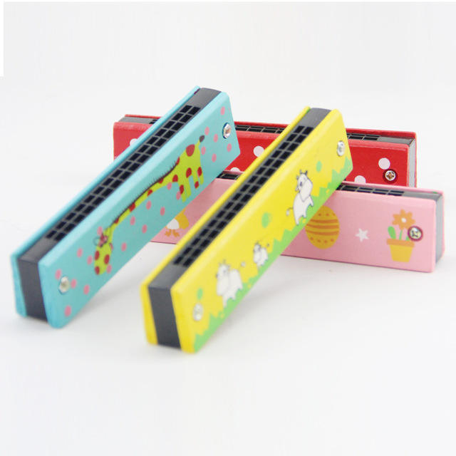Wooden Music Toy Amazon Hot Sale Wooden Cartoon 16 Hole Double Row Harmonica Children's Wooden Toy For Kids Musical Instrument Toys