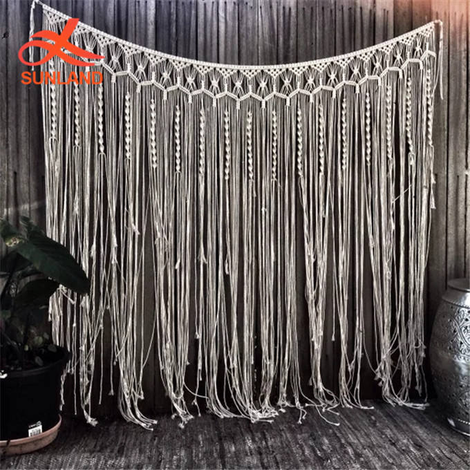 W1540 Geometric Art Macrame Curtain Large Macrame bedhead wall hanging