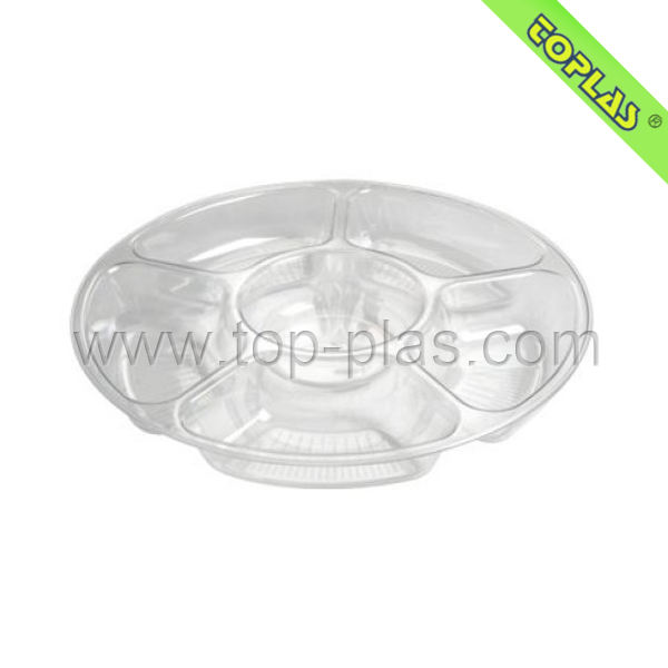 Custom PET Food Round Plate With 5 Compartment