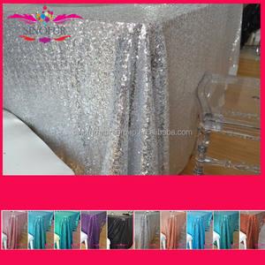 caliente de la venta de lujo 100% poliéster bordado metálico secuencia de la boda de lentejuelas de plata paño de tabla