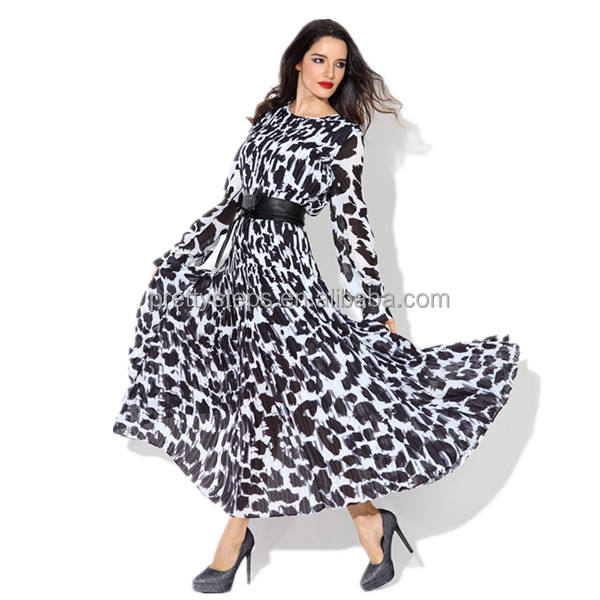 Guangzhou Garment Printed Winter Maxi Dress Factory Big Full Hem Animal Long Sleeve Pretty Steps 2019 Plus Size Casual Dresses