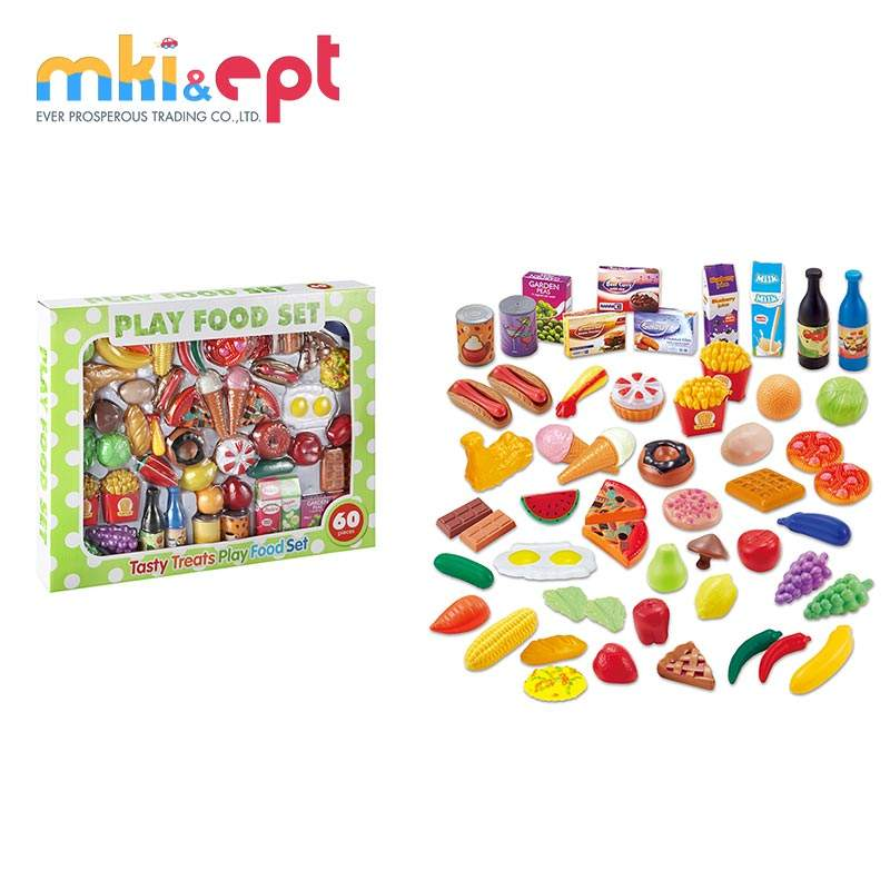 Plastic Simulation kitchen toys play food set for kids