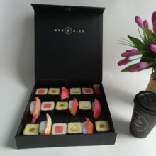 luxury black paper sushi take out box, cardboard sushi container custom, disposable sushi packaging