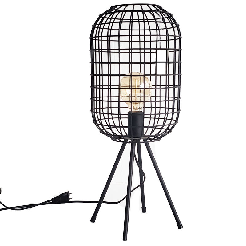 Cage Shape Indoor Tripod Light Stand Industrial Modern Tripod Led Floor Lamp Stand For Living Room