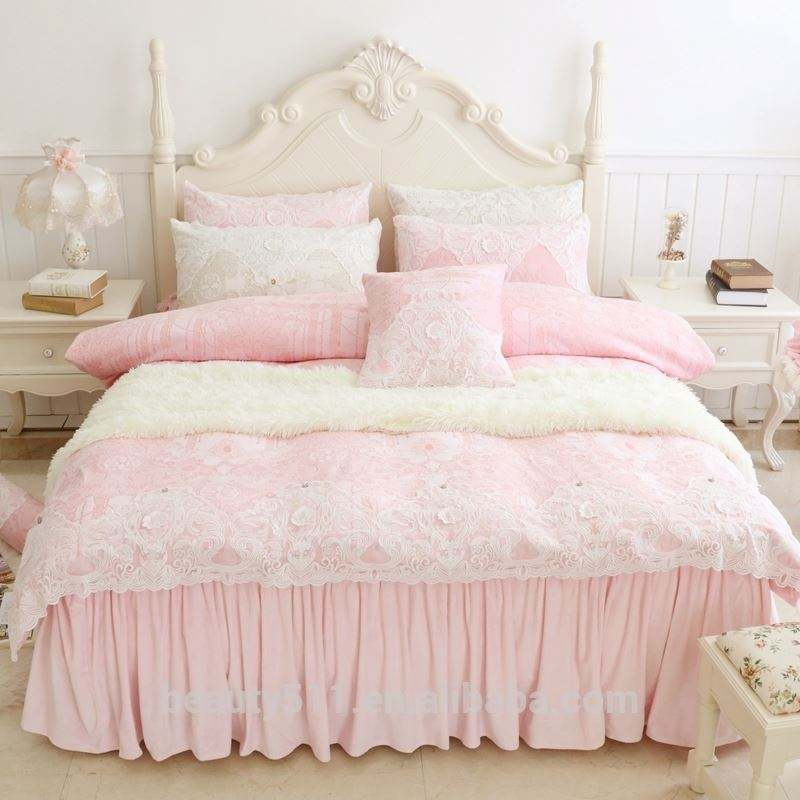 Wholesale High qulity Pink Lace Crystal velvet Cotton bed sheets Bed Sheet / Bed Cover /pillow case CRX3b