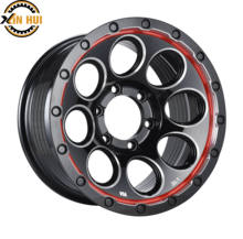 car rims 16*8.0  6*139.7  customised color  excellent  design black machine face with rivet fit for SUV cars