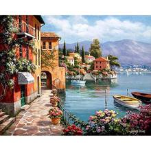 CHENISTORY DZ1018 Frame Venice Resorts Seascape DIY Painting By Numbers Handpainted Oil Painting Home Wall Decor Artwork 40x50cm