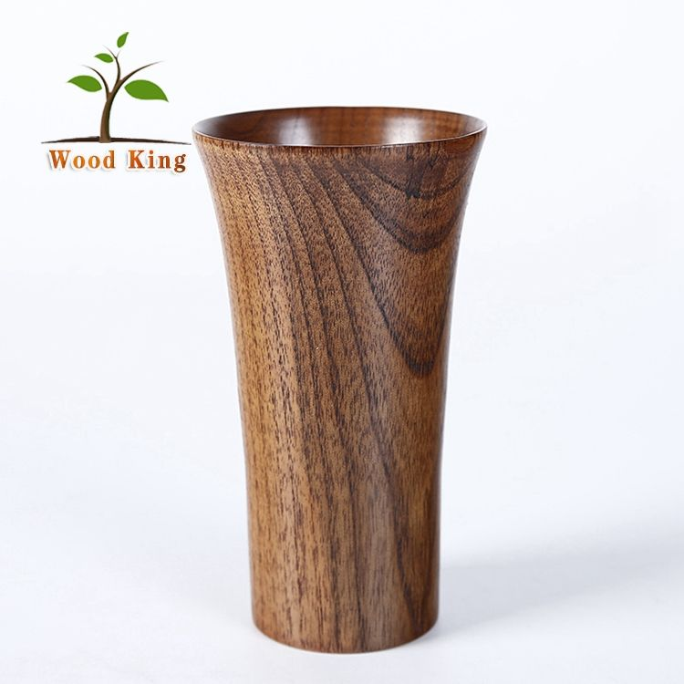 Jujube Wooden Hand Cup Full Wood Grain Return Side Long Cup Custom Logo Eco Cup