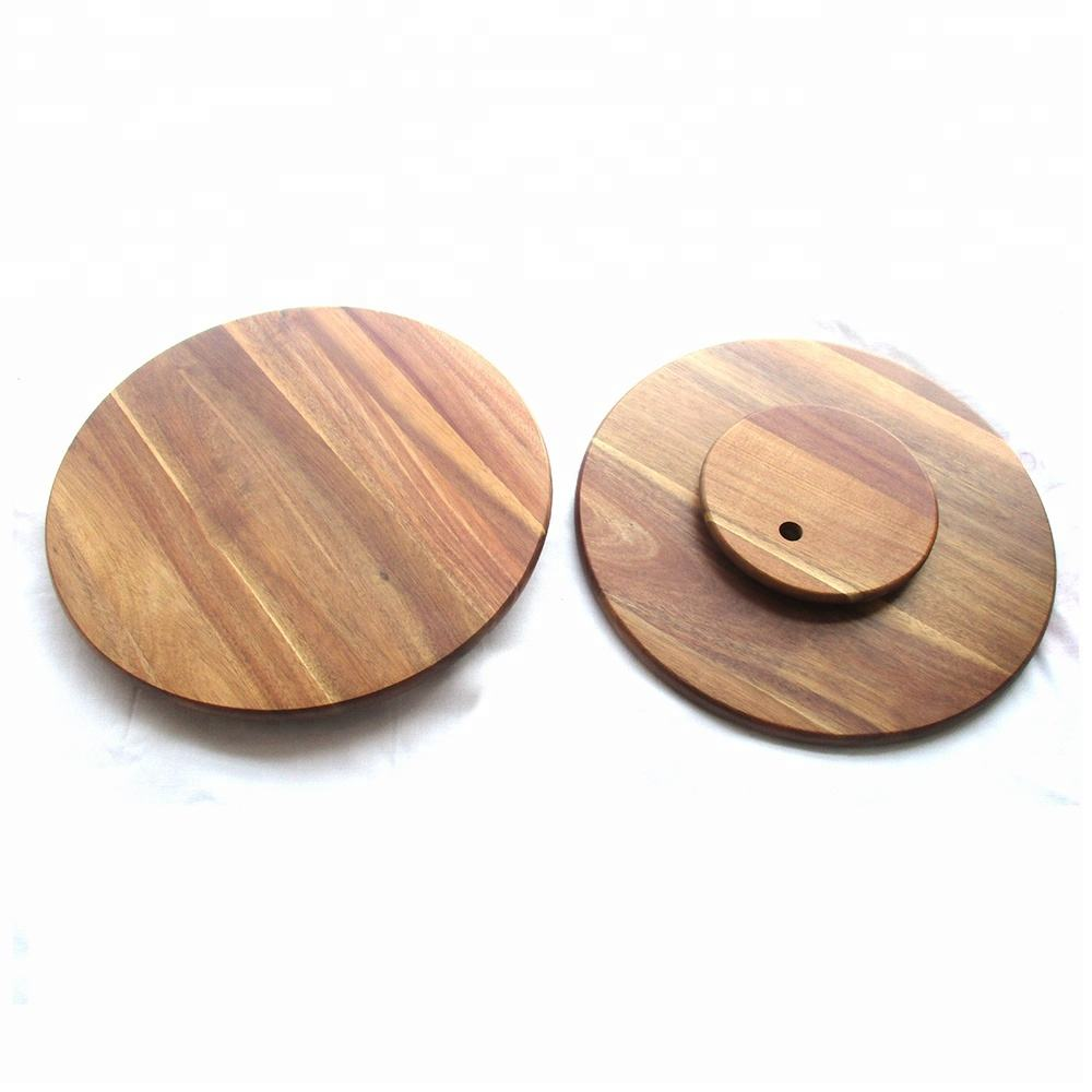 large acacia wood lazy susan turntable, kitchen rotating display trays wholesale