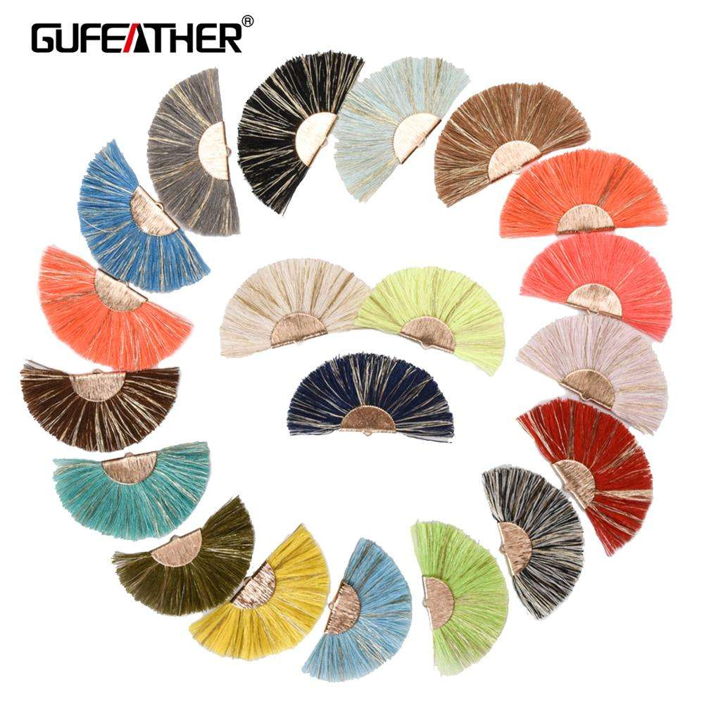 GUFEATHER L139 Tassel jewelry making supplies Colorful Fan Cotton Tassel With Golden Clip