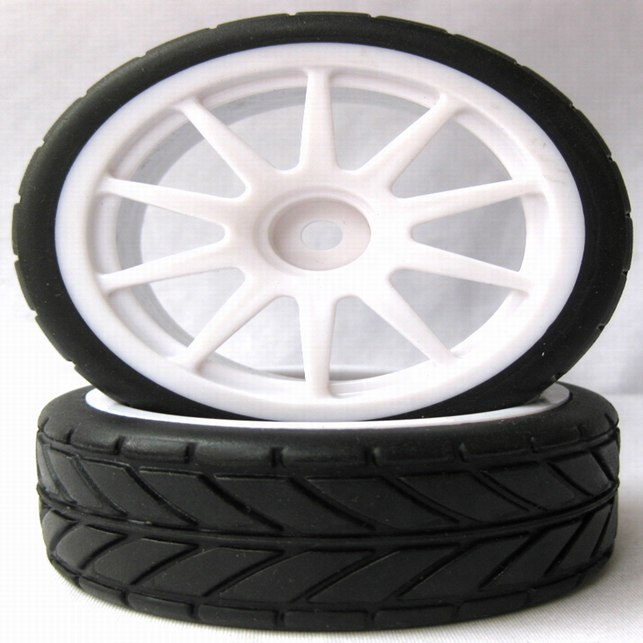 2pcs 1/10 Scale RC Racing Car Tires Rubber Wheels and Tires Tyres for 1:10 Touring Car (20171)
