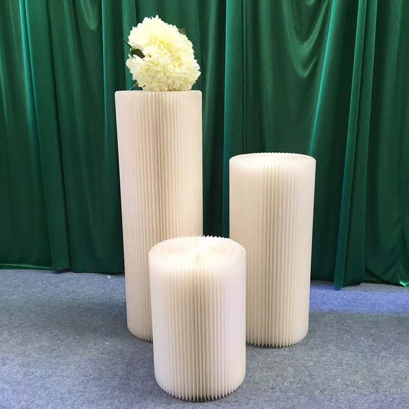 LDJ857 white Kraft paper pillar column decorative cheap wedding columns