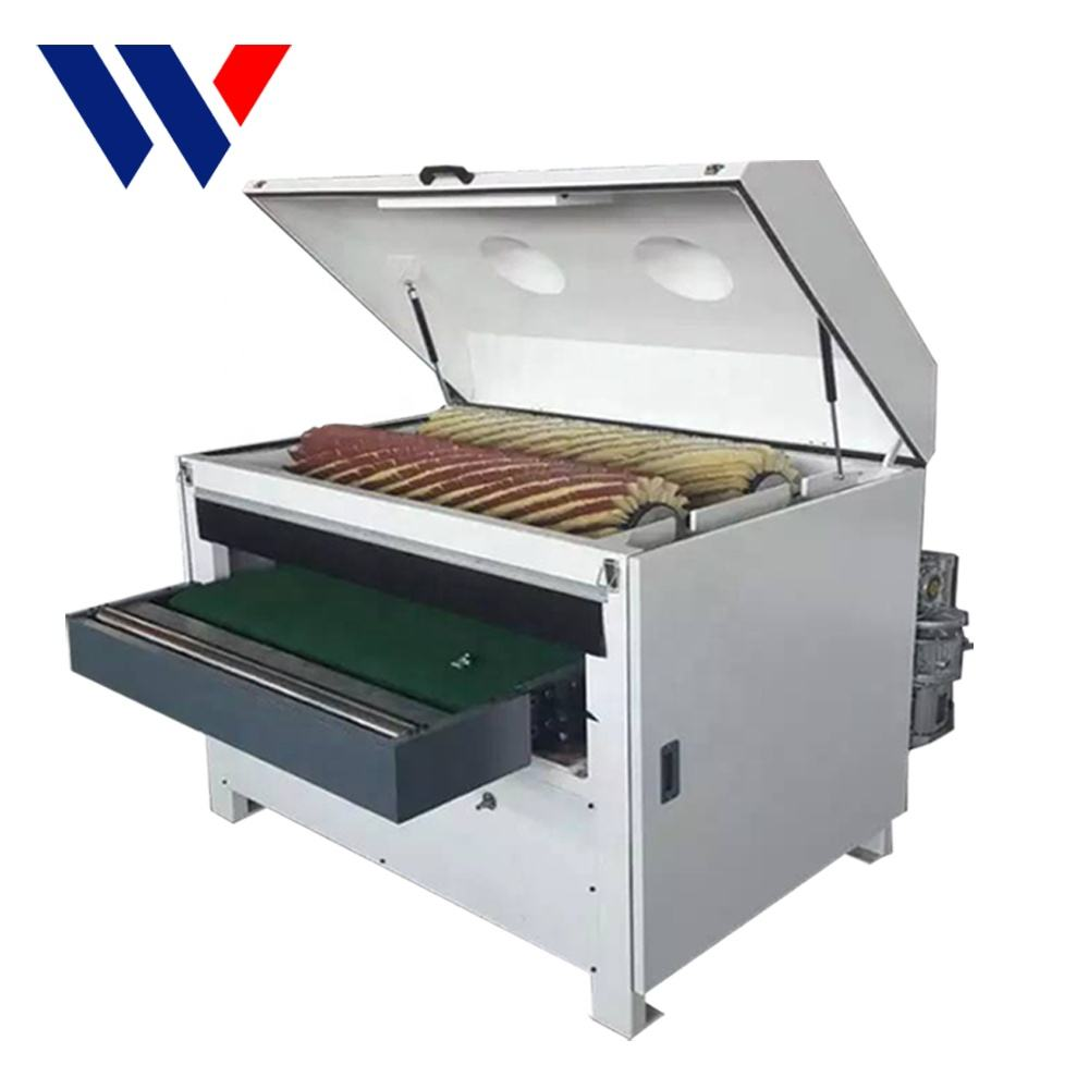R-R1000 embossed plate sisal roller wood brush polishing machine