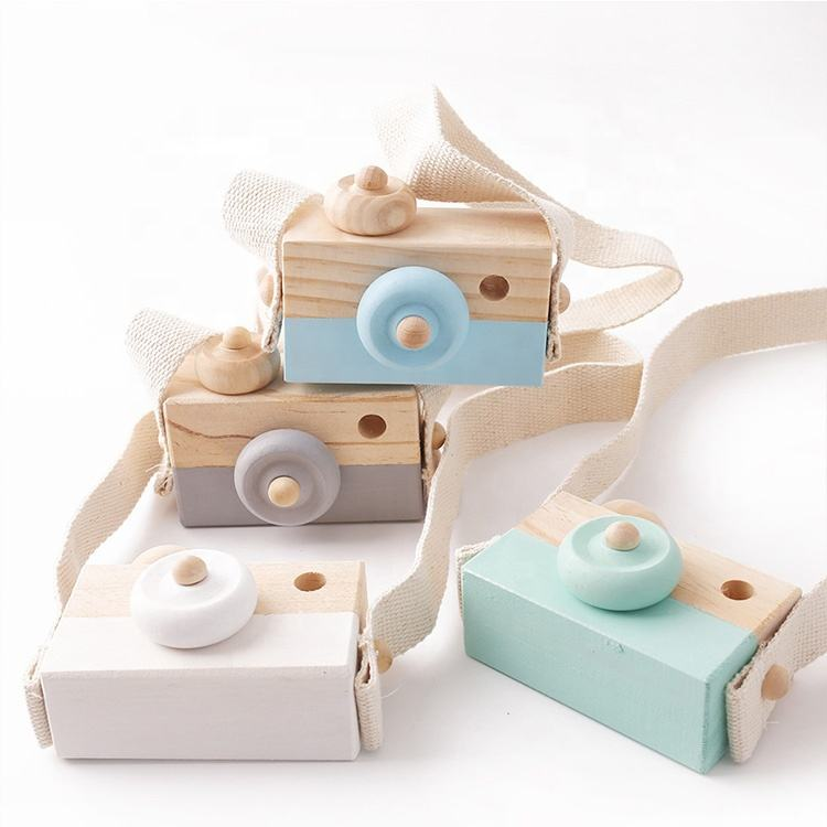 HOT Custom Kaleidoscope Cute pretend toy Wooden Camera Baby Kids Hanging kids camera toys