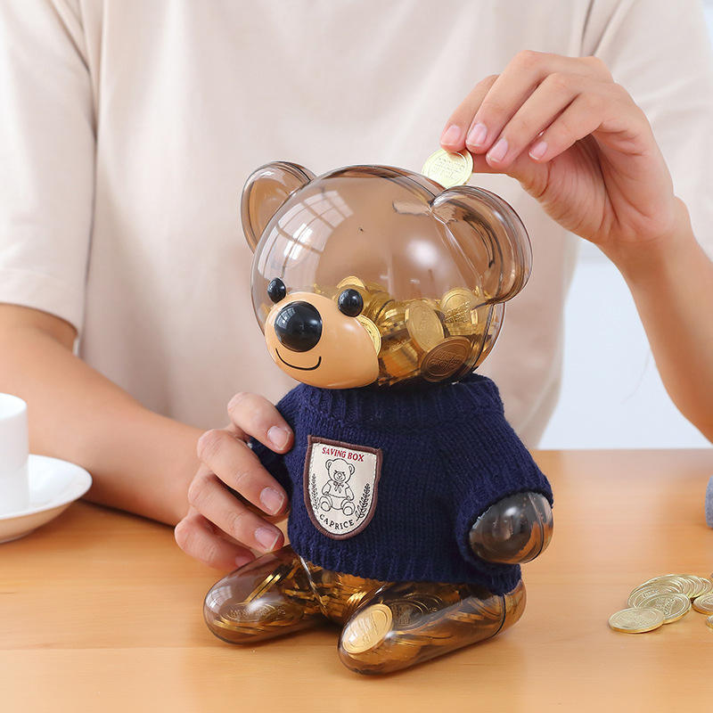 custom cute bear coin bank promotion bear cartoon piggy bank bear money box