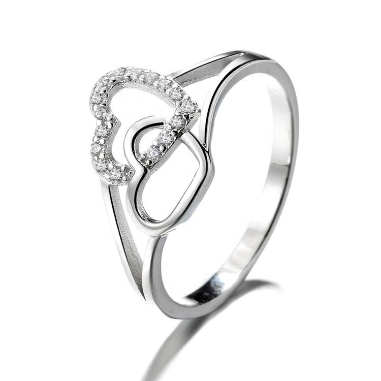 Fashion Finger Ring Unique Double Hearts Knot 925 Sterling Silver Love Rings