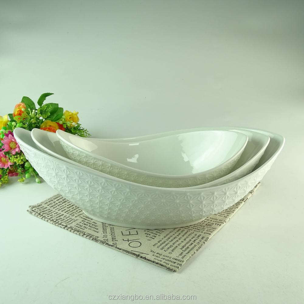 Factory bulk cheap wholesale white fancy oval ceramic salad bowl set