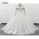 Eslieb new arrival ball gown luxurious lace appliques sequins wedding dress lace up back dimensional flowers bridal dress