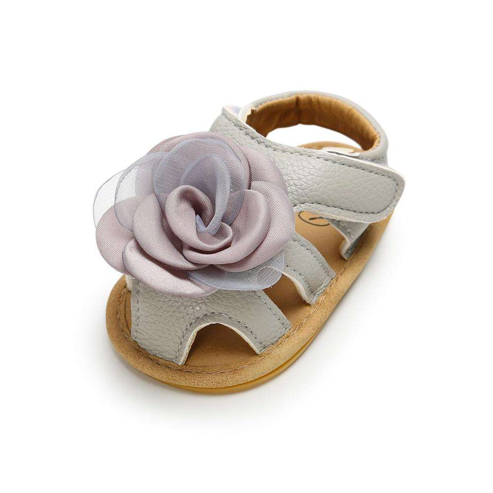 Grey Cute High quality Sunflower style Soft soled Summer Baby Girl sandals
