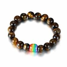 Fashion Gay Pride LGBT Bracelet Tiger Eye Beads Natural StoneCharm Rainbow Bracelet