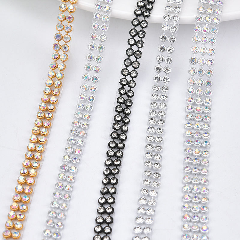 2 Rows Bling Decorative Crystal Rhinestone Ribbon Fabric Trim Hotfix Aluminum Metal Gold Silver Rhinestone Mesh Trim Wholesale