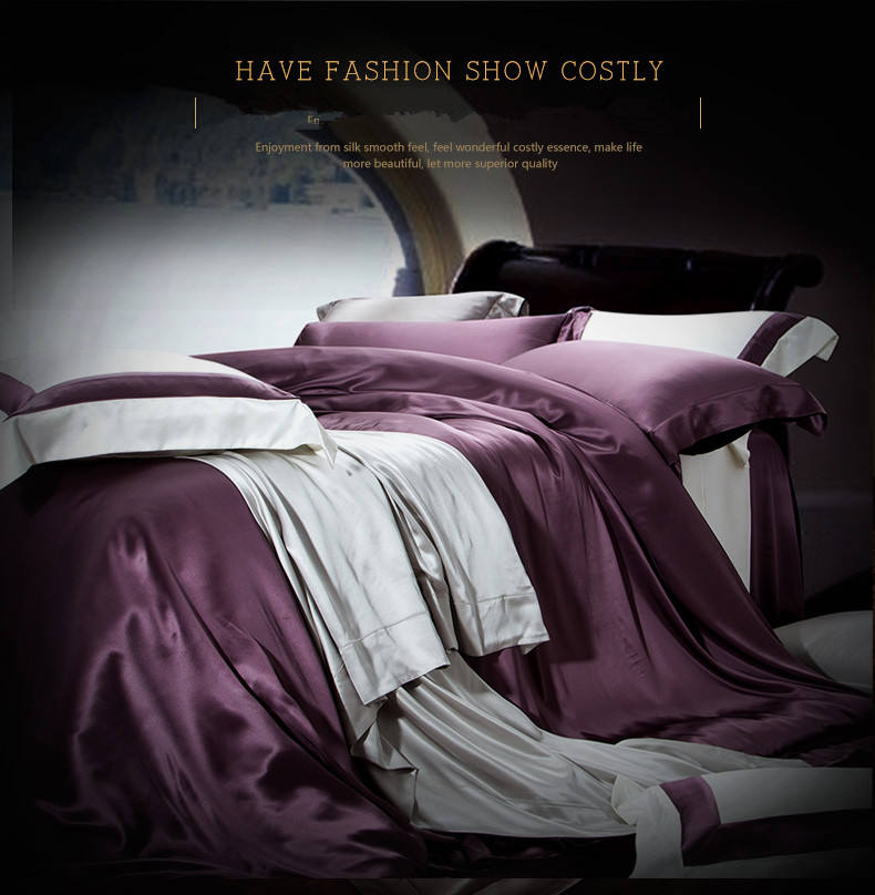 luxury duvet cover 100% silk bedding set