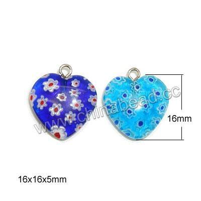 Wholesale murano glass millefiori pendants, Millefiori heart pendant heart glass charm for necklace making