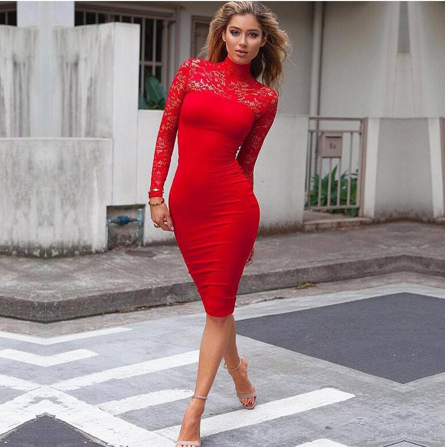 women's long sleeve lace split joint sexy graceful slim fitted dress