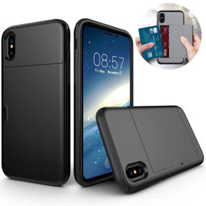 Slim Tpu + PC Phone Case met Card Slot SGP credit card onzichtbare push Telefoon back Cover Voor iPhone XS max